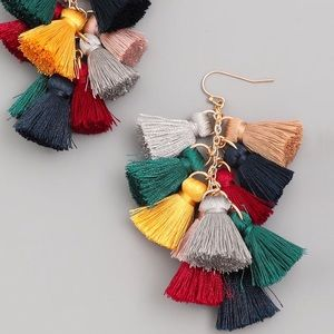 Jewelry - Trending! Multi Tassel Gold Earrings Fall Colors